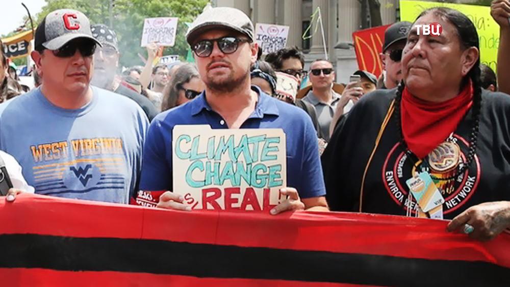 Леонардо Ди Каприо на экологическом митинге
