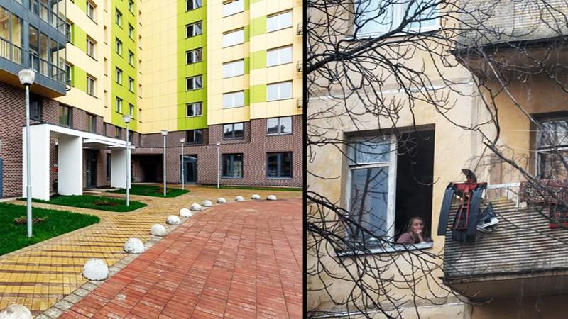Новый жилой дом и старая пятиэтажка