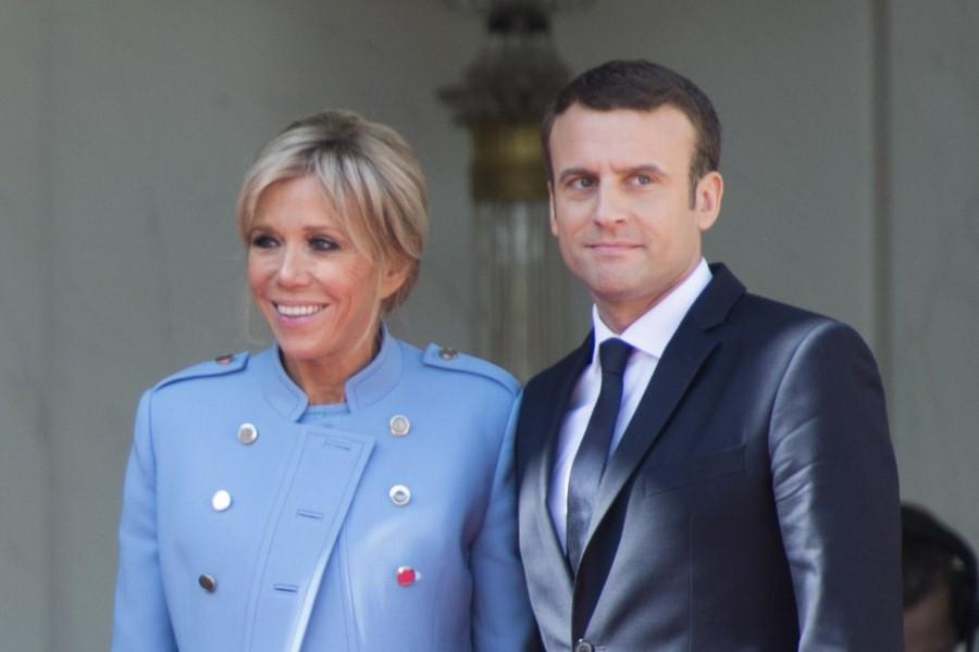 Президент Франции Эмманюэль Макрон с супругой Бриджит Макрон