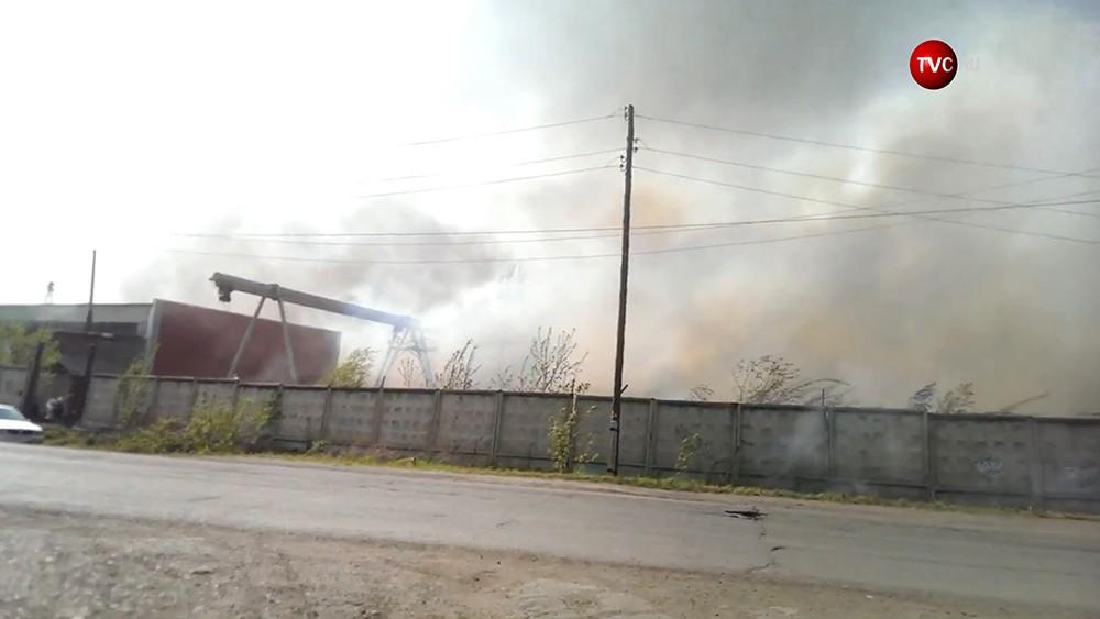 Пожар на лесоперерабатывающем предприятии