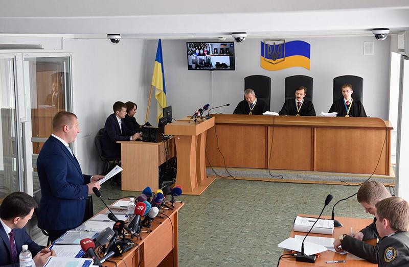 Заседание суда Киева, где рассматривается дело о государственной измене экс-президента Украины Виктора Януковича