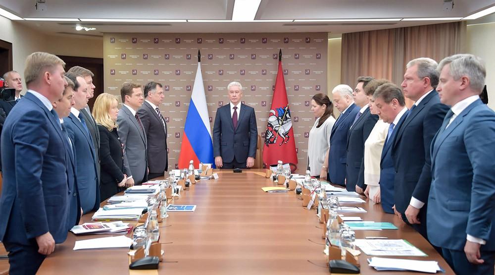 Заседание президиума правительства Москвы. Минута молчания в память о жертвах урагана