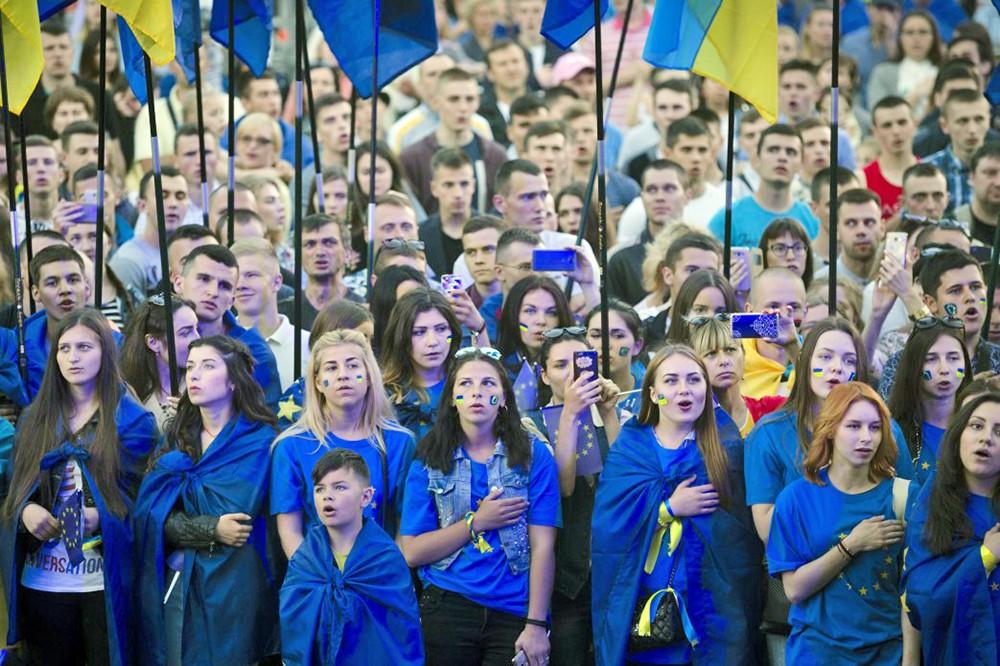 Жители Украины на митинге