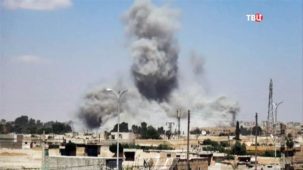 Последствия авиаудара в Сирии
