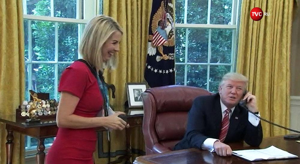 Президент США Дональд Трамп и журналистка