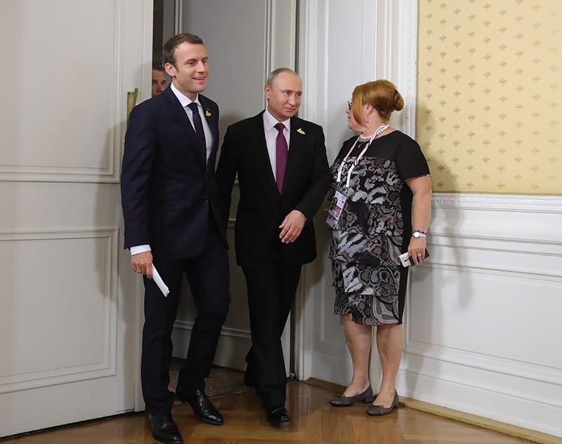 Президент России Владимир Путин и президент Франции Эммануэль Макрон