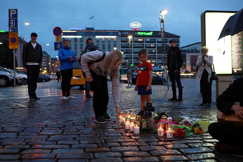 На месте теракта в Турку, Финляндия