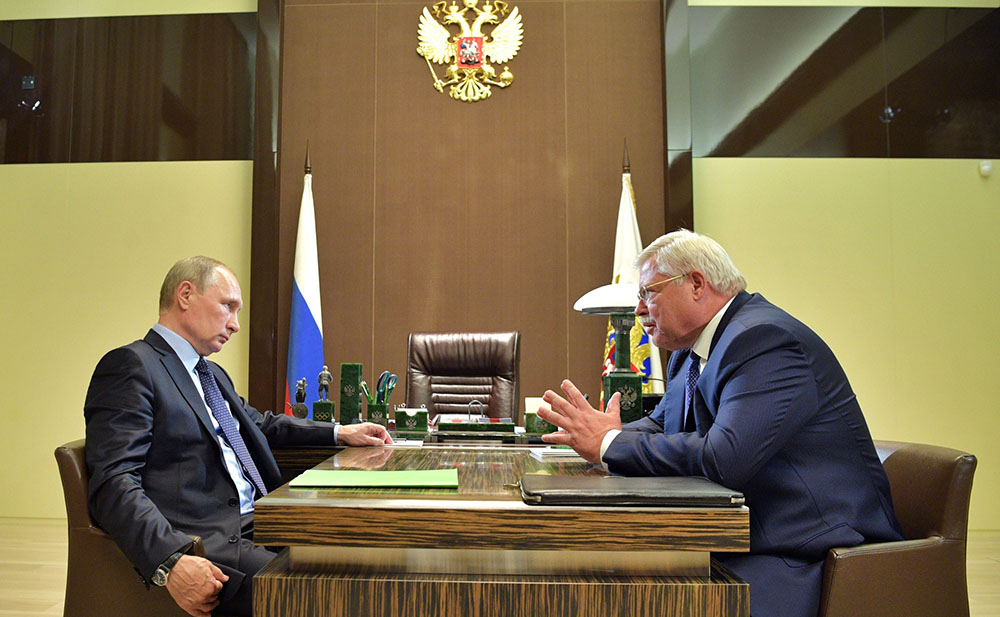 Президент России Владимир Путин и врио губернатора Томской области Сергей Жвачкин