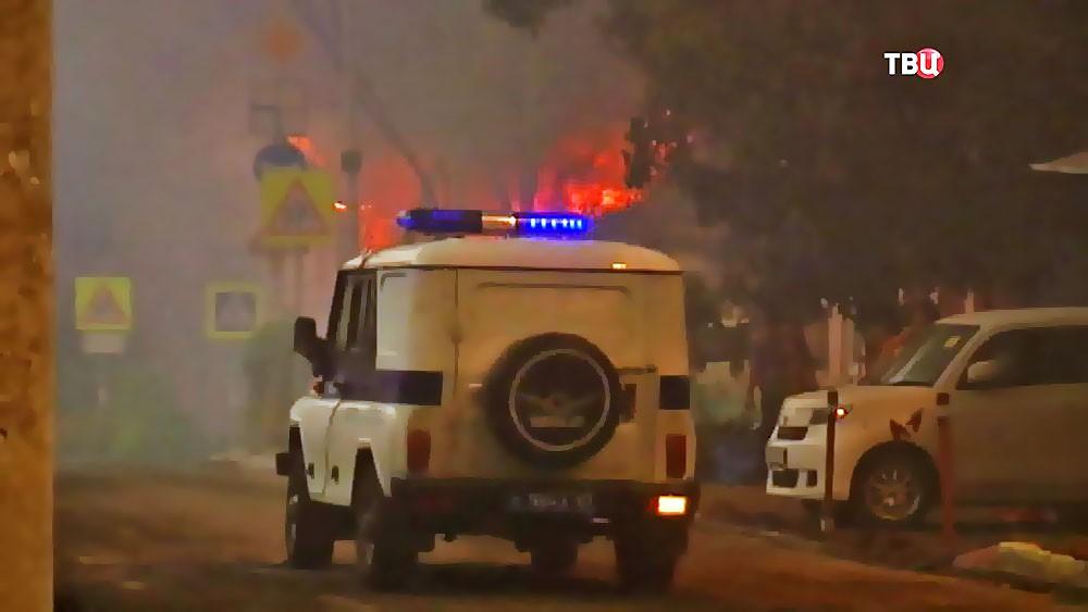 Полиция на месте пожара