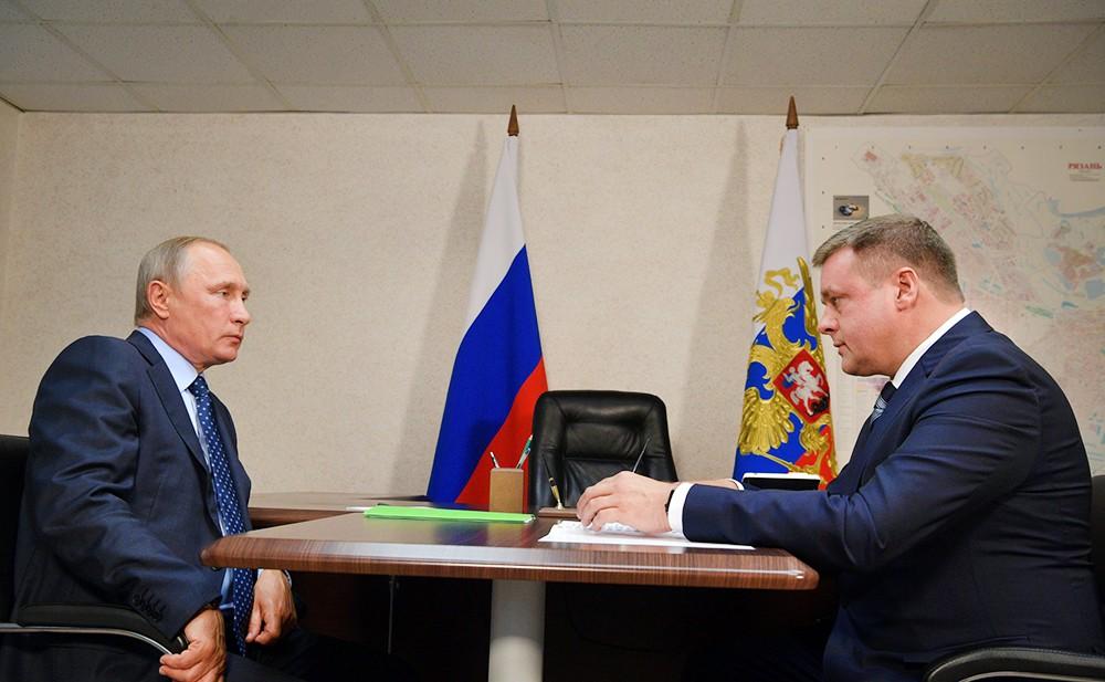 Президент России Владимир Путин и врио губернатора Рязанской области Николай Любимов