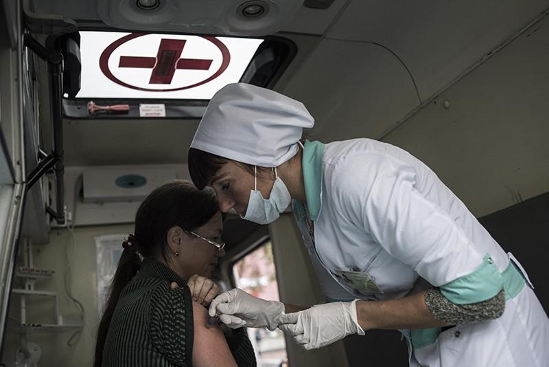 Работа мобильного прививочного пункта