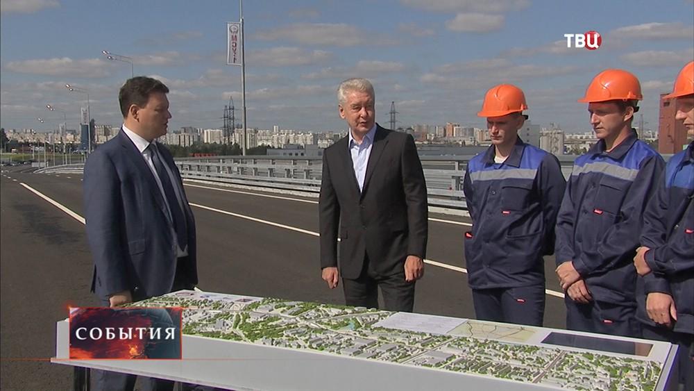 Мэр Москвы Сергей Собянин во время открытия новой эстакады