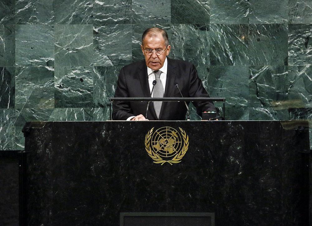 Глава МИД России Сергей Лавров выступает в ООН