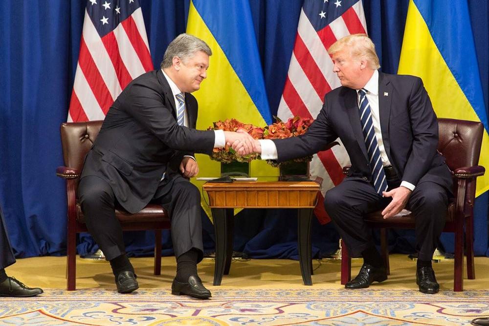 Президент США Дональд Трамп и апкзидент Украины Пётр Порошенко