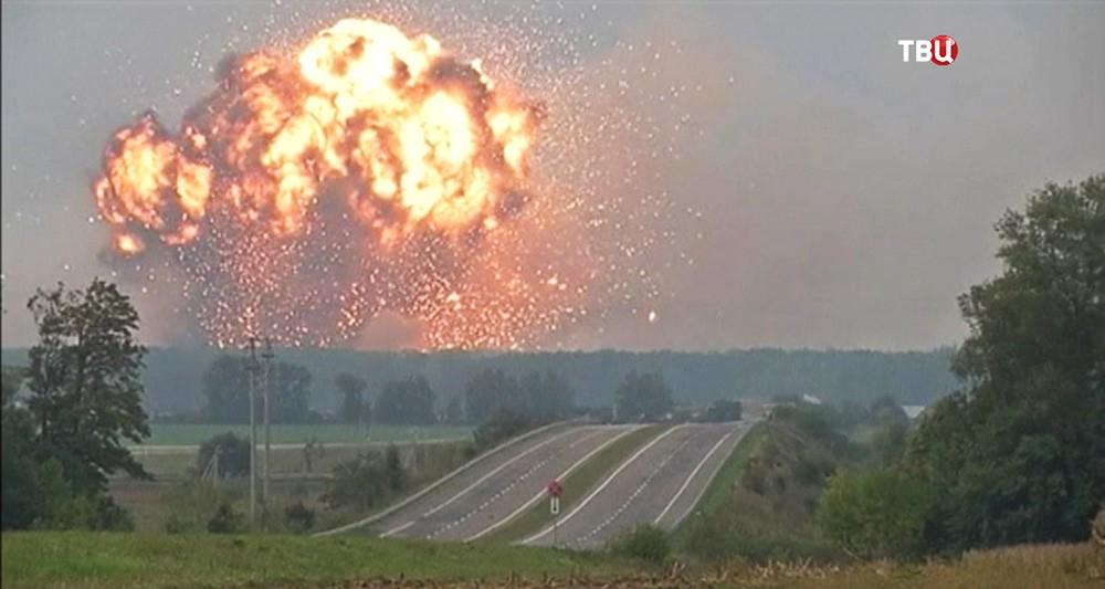 Пожар на крупном складе с боеприпасами в Винницкой области, Украина