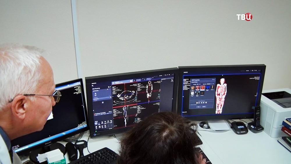 Сканирование мумии в аппарат МРТ