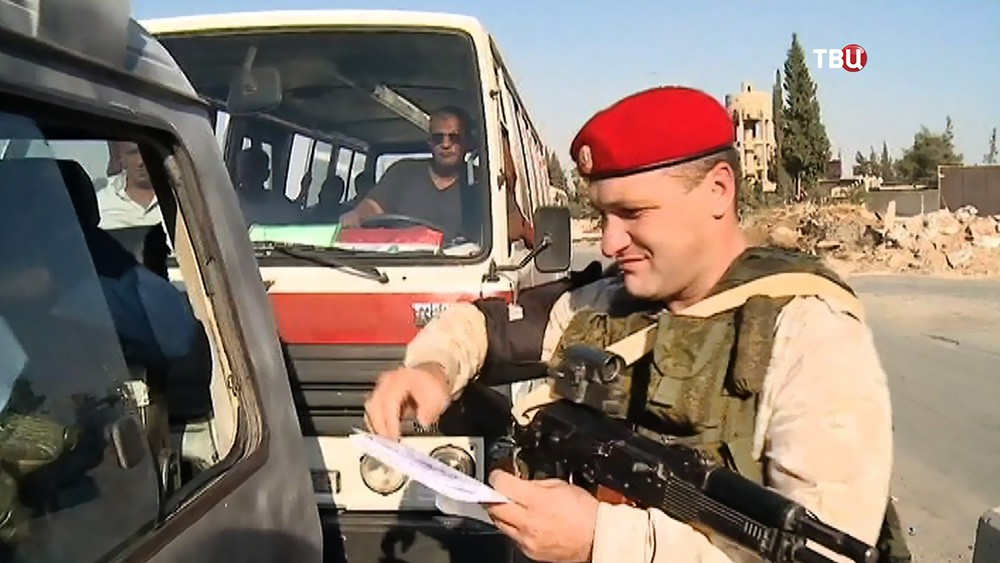 Военная полиция МО России на КПП в Сирии