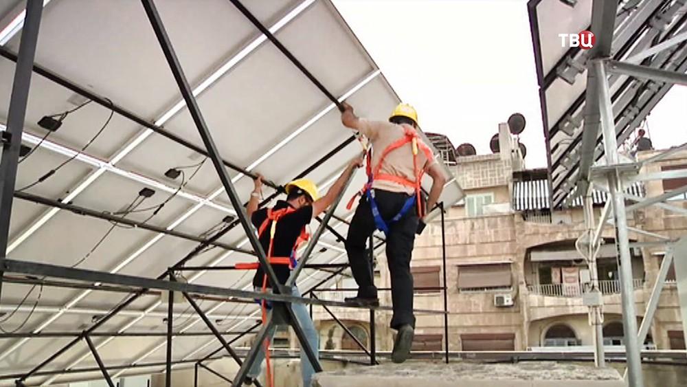 Установка  солнечных батарей в Сирии
