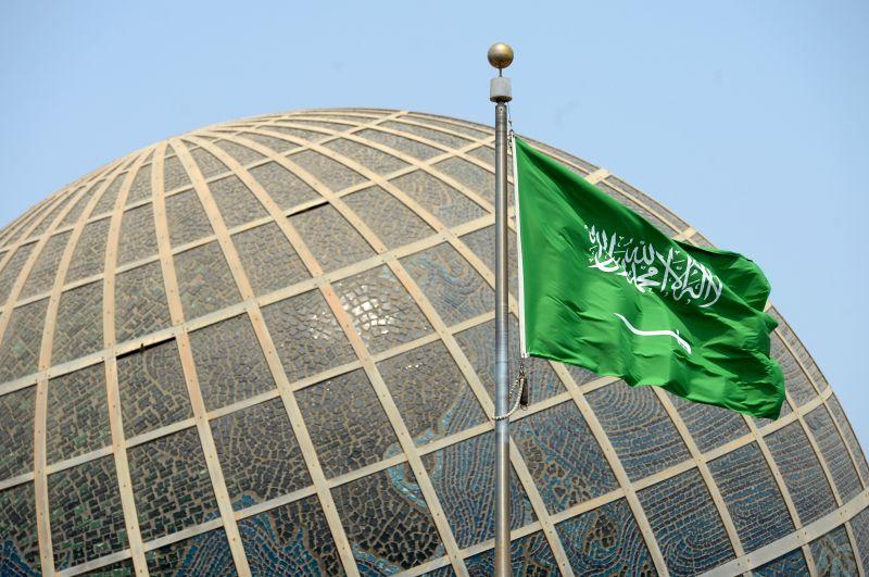 Флаг Саудовской Аравии в городе Джидда