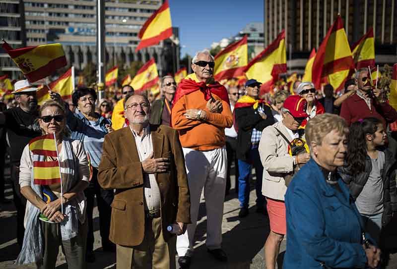 Участники акции в поддержку единства Испании в Мадриде