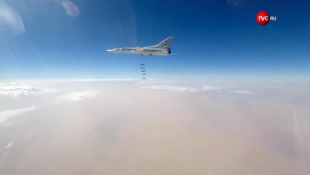 Авиаудар стратегического бомбардировщика Ту-22 ВКС России по позициям ИГИЛ в Сирии