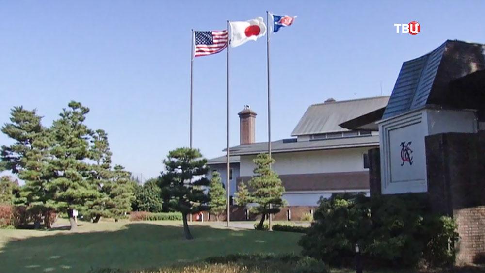 Флаги США и Японии