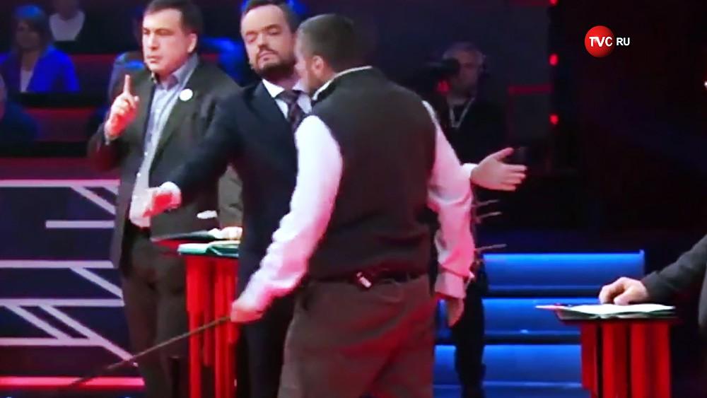 Михаил Саакашвили и депутат Верховной рады Игорь Мосийчук на телешоу
