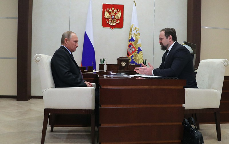 Президент России Владимир Путин и министр природных ресурсов и экологии Сергей Донской
