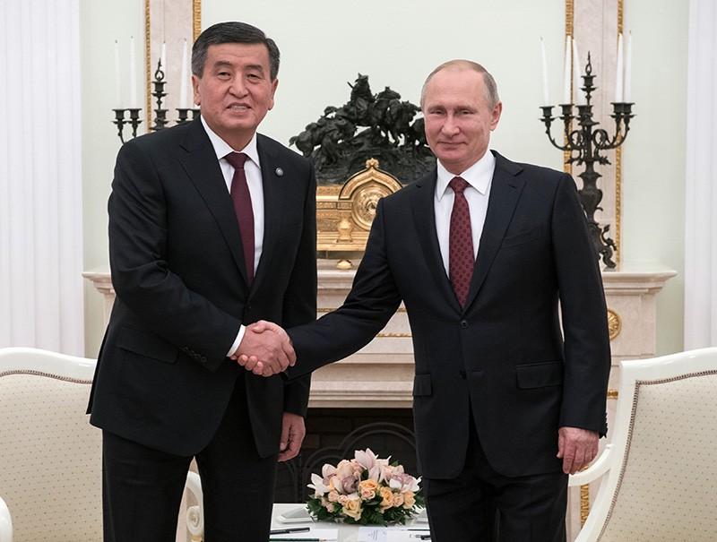 Президент России Владимир Путин и президент Киргизии Сооронбай Жээнбеков