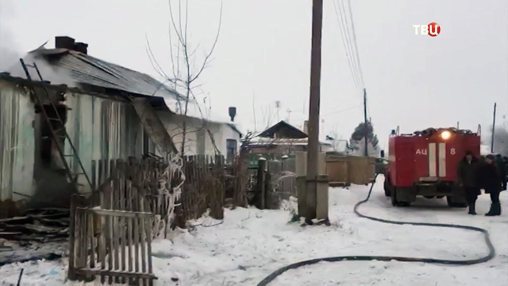 Пожар жилого дома в Новосибирской области