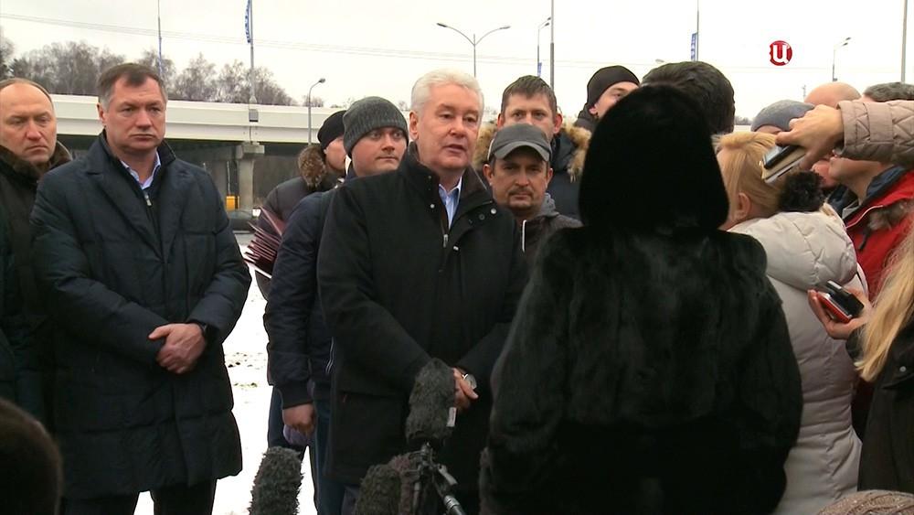 Сергей Собянин во время открытия движения на участке Калужского шоссе