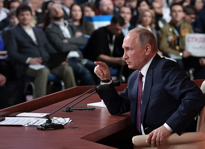 Президент России Владимир Путин во время большой ежегодной пресс-конференции