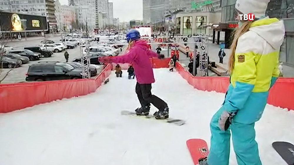 Спуск для сноубордистов на Новом Арбате