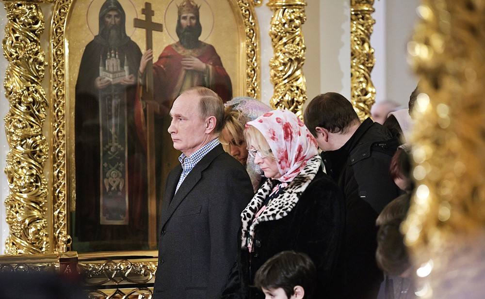 Владимир Путин на Рождественском богослужени