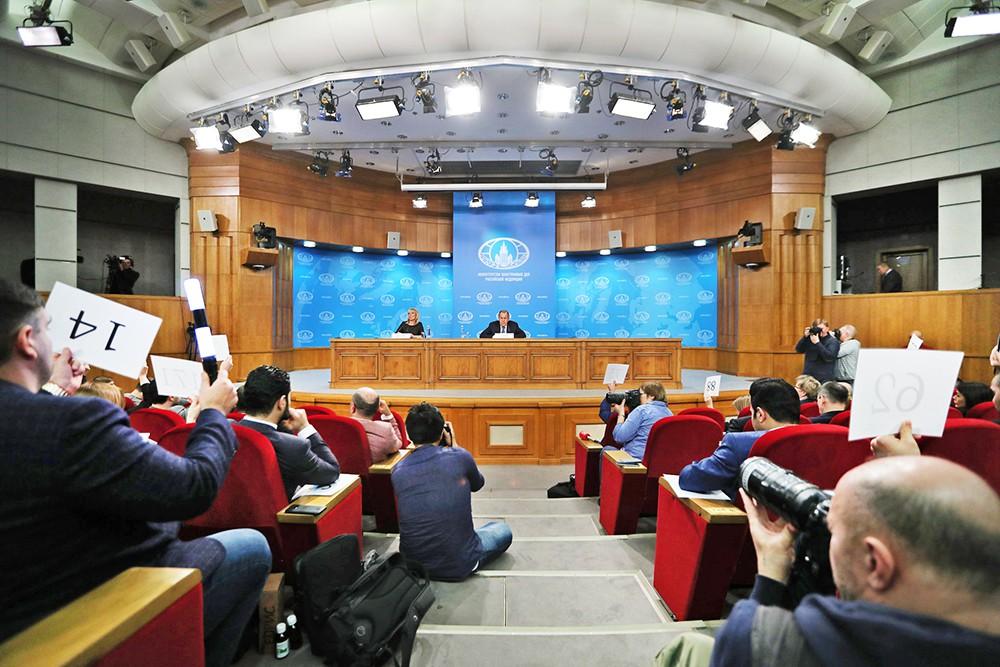 Пресс-конференция министра иностранных дел Сергея Лаврова