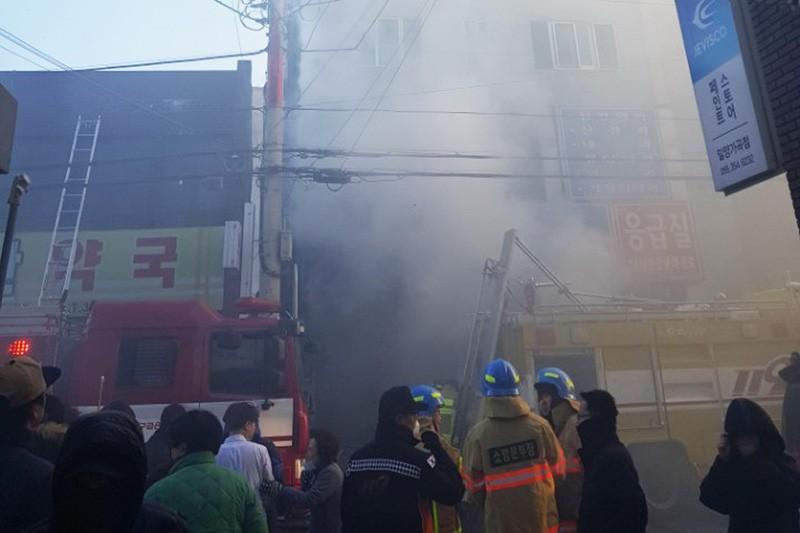 Возгорание здания больницы в городе Мильян, Южная Корея