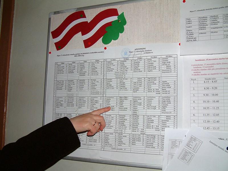 Русский язык в расписании уроков латышской школы