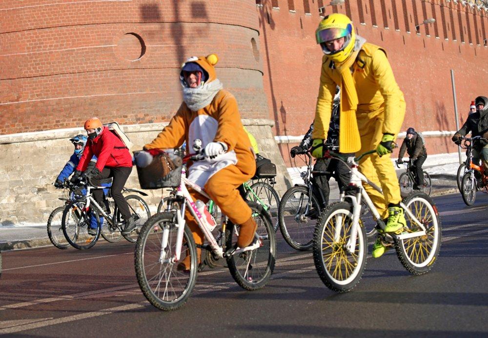 Зимний Московский велопарад