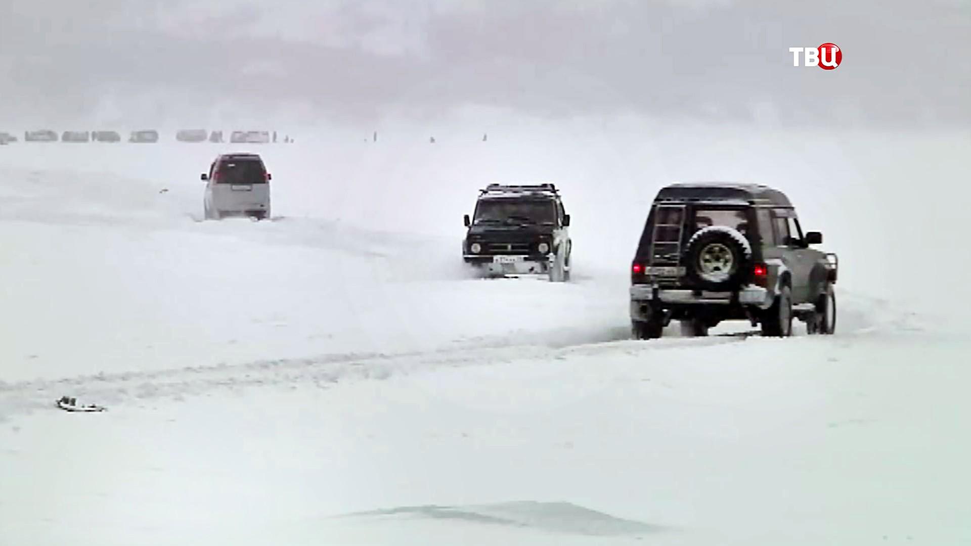Снежный буран на трассе