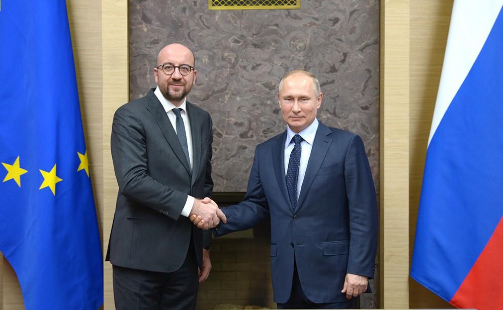 Президент России Владимир Путин и премьер-министр Бельгии Шарль Мишель