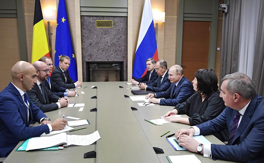 Президент России Владимир Путин и с премьер-министр Бельгии Шарль Мишель