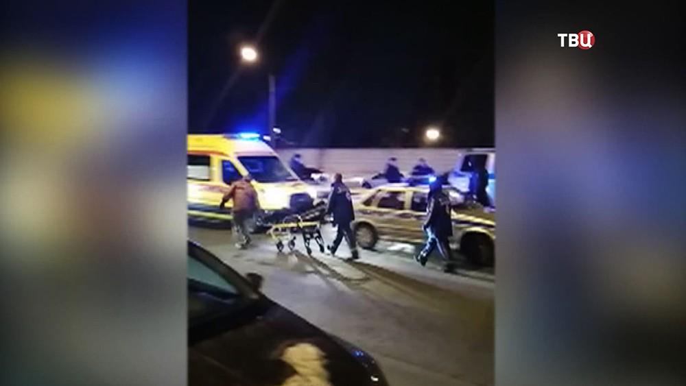 Последствия перестрелки с грабителями в Санкт-Петербурге