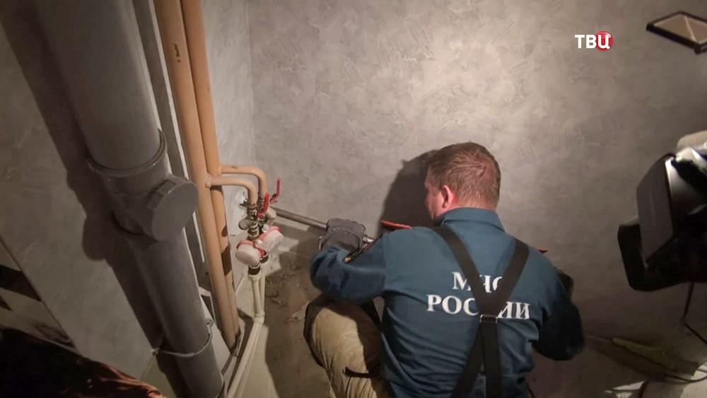Спасатели МЧС достают застрявшего енота