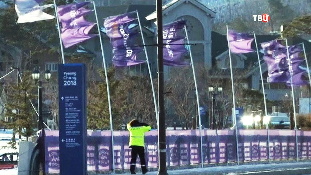 Сильный ветр на Олимпиаде в Пхенчхане