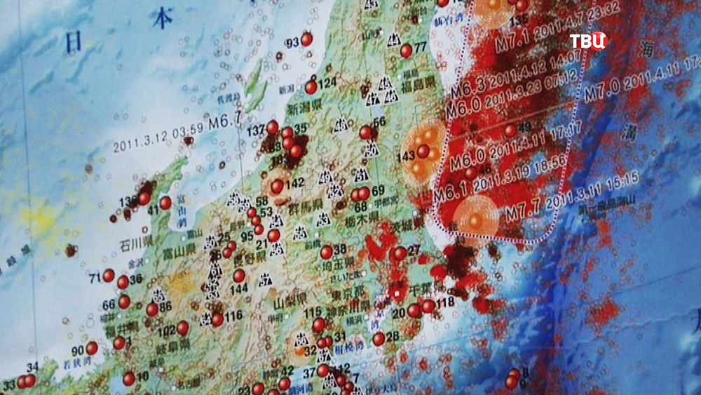 Сейсмическая карта Японии