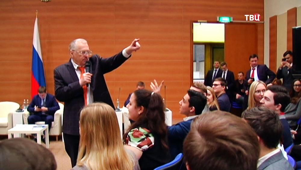 Лидер партии ЛДПР Владимир Жириновский на встрече со студентами