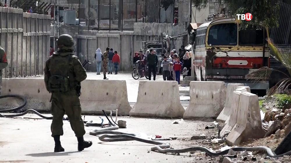 КПП на границе с Восточной Гутой в Сирии