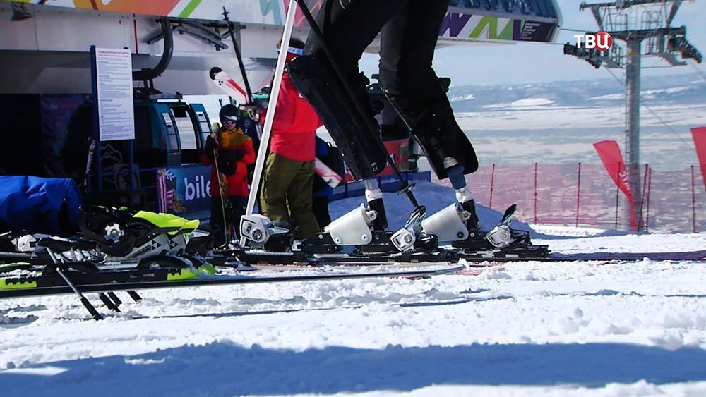 Паралимпийцы на лыжах