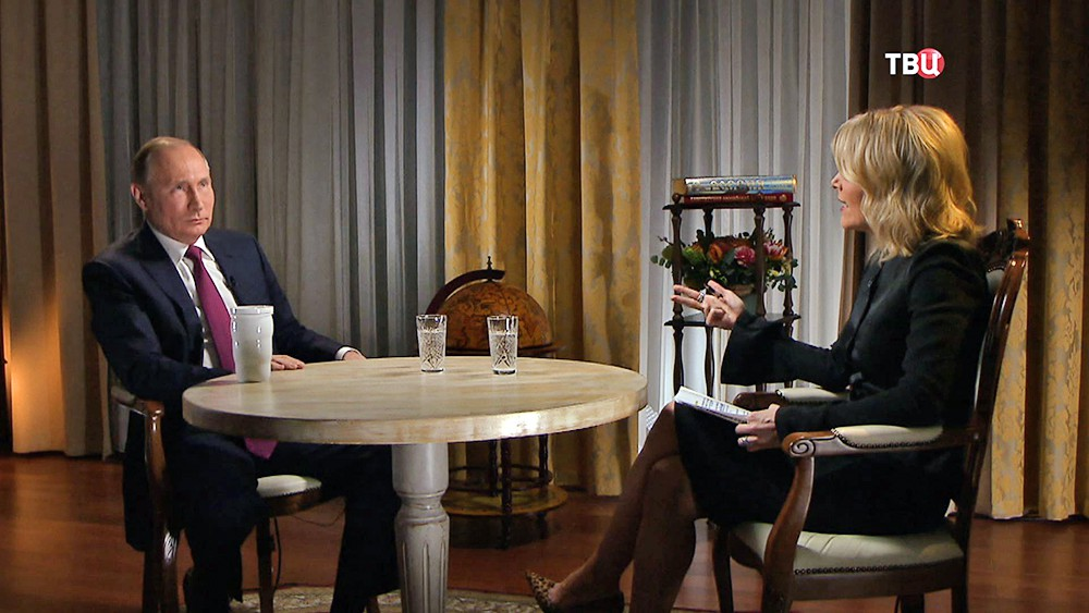 Владимир Путин и ведущая телеканала NBC News Мегин Келли