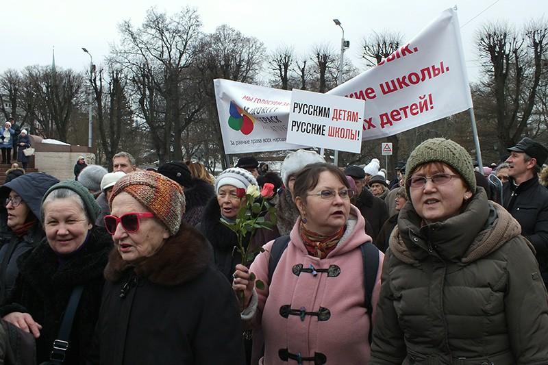 Протесты в Латвии
